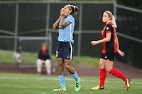 Piscataway, NJ, May 7, 2016.  Tasha Kai (32) of Sky Blue FC reacts in disappointment after missing a scoring opportunity against the Western New York Flash. The Western New York Flash defeated Sky Blue FC, 2-1, in a National Women's Soccer League (NWSL) match at Yurcak Field.