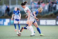 Boston, MA - Sunday May 07, 2017: Abby Erceg, Rosie White during a regular season National Women's Soccer League (NWSL) match between the Boston Breakers and the North Carolina Courage at Jordan Field.