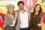 Spanish actors Emma Suarez (l), Daniel Grao (c) and Adriana Ugarte attend the photocall of presentation of the Pedro Almodovar's new film 'Julieta'. April 4, 2016. (ALTERPHOTOS/Acero)