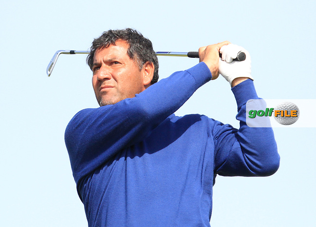 Ricardo Gonzalez (ARG) on the 8th tee during Round 1 of the 2015 KLM Open at the Kennemer Golf &amp; Country Club in The Netherlands on 10/09/15.<br /> Picture: Thos Caffrey | Golffile