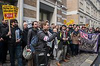 Striking UCU lecturers and their student supporters protest outside the Government Office for Students near Holborn in central london. 7-3-18