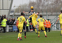 Liam Smith beats Ryan Hardie in the air in the St Mirren v Livingston Scottish Professional Football League Ladbrokes Championship match played at the Paisley 2021 Stadium, Paisley on 14.4.18.