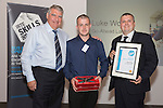 17/07/2015 The IRTE Skills Challenge 2015 prize-giving takes place at The National Motorcycle Museum, Birmingham. Sir Moir Lockhead (left) presents the Top Scoring Electrical Technician prize to Luke Wood of Go-Ahead London.