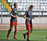 20131026 - LIVADIA , GREECE : Belgian Yana Daniels (right) and Aline Zeler (left) pictured during the female soccer match between Greece and Belgium , on the third matchday in group 5 of the UEFA qualifying round to the FIFA Women World Cup in Canada 2015 at the Levadia Municipal Stadium , Livadia . Saturday 26th October 2013. PHOTO DAVID CATRY