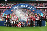 Arsenal celebrate winning the FA Cup during the Emirates FA Cup Final match at Wembley Stadium, London. Picture date: May 27th, 2017.Picture credit should read: David Klein/Sportimage