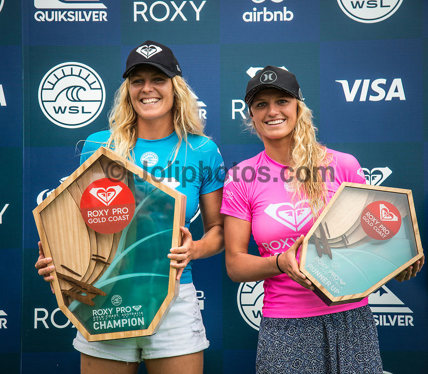 COOLANGATTA, Queensland/AUS (Sunday, March 19, 2017) Stephanie Gilmore (AUS) and Lakey Peterson (AUS) - The Quiksilver and Roxy Pro Gold Coast was called ON today in three - to - four foot (1 m) surf at Snapper Rocks. The event got underway at 7:05 a.m. with the Men's Quarterfinals followed by the Women's Quarterfinals and ran through to the finals with Owen Wright (AUS) posting a victory with his first event back from injury and Stephanie Gilmore (AUS) adding another Roxy Pro title to her name. Wright defeated defending event champion Matt Wilkinson(AUS) in an all goofy-foot final while Lakey Peterson (USA) was runner up to Gilmore.   Photo: joliphotos.com- The Quiksilver and Roxy Pro Gold Coast was called ON today in three - to - four foot (1 m) surf at Snapper Rocks. The event got underway at 7:05 a.m. with the Men's Quarterfinals followed by the Women's Quarterfinals and ran through to the finals with Owen Wright (AUS) posting a victory with his first event back from injury and Stephanie Gilmore (AUS) adding another Roxy Pro title to her name. Wright defeated defending event champion Matt Wilkinson(AUS) in an all goofy-foot final while Lakey Peterson (USA) was runner up to Gilmore.   Photo: joliphotos.com- The Quiksilver and Roxy Pro Gold Coast was called ON today in three - to - four foot (1 m) surf at Snapper Rocks. The event got underway at 7:05 a.m. with the Men's Quarterfinals followed by the Women's Quarterfinals and ran through to the finals with Owen Wright (AUS) posting a victory with his first event back from injury and Stephanie Gilmore (AUS) adding another Roxy Pro title to her name. Wright defeated defending event champion Matt Wilkinson(AUS) in an all goofy-foot final while Lakey Peterson (USA) was runner up to Gilmore.   Photo: joliphotos.com- The Quiksilver and Roxy Pro Gold Coast was called ON today in three - to - four foot (1 m) surf at Snapper Rocks. The event got underway at 7:05 a.m. with the Men's Quarterfinals followed by th