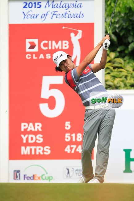 Kevin Na (USA) on the 5th tee during Round 4 of the CIMB Classic in the Kuala Lumpur Golf &amp; Country Club on Sunday 2nd November 2014.<br /> Picture:  Thos Caffrey / www.golffile.ie