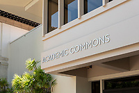 Academic Commons entrance and signage, Aug. 1, 2018.<br /> (Photo by Marc Campos, Occidental College Photographer)