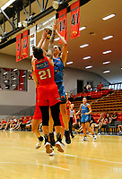 29th December 2019; Bendat Basketball Centre, Perth, Western Australia, Australia; Womens National Basketball League Australia, Perth Lynx versus Canberra Capitals; Marianna Tolo of the Canberra Capitals shoots in front of Marina Whittle of the Perth Lynx - Editorial Use