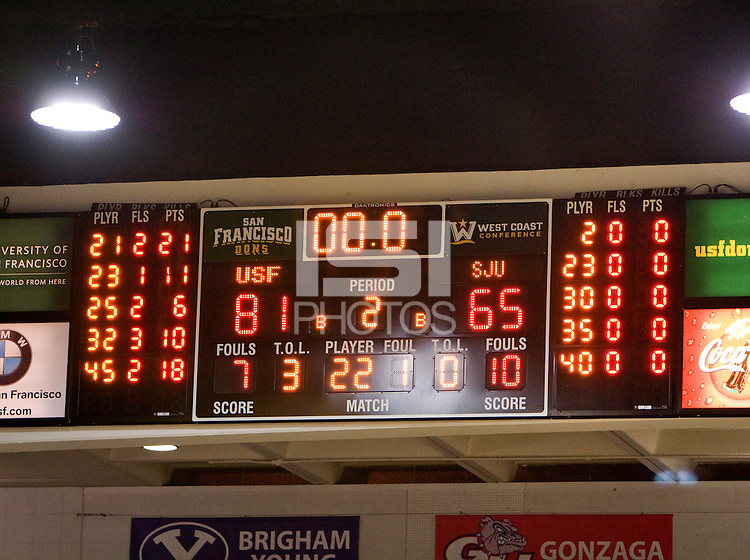 USF's final scoreboard after the game against St. John's at War Memorial Gym in San Francisco, California on December 4th, 2012.   USF Dons defeated St. John's, 81-65.