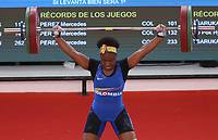 BARRANQUILLA - COLOMBIA, 22-07-2018:Competidora Jakelina Heredia de Colombia,  levantamiento de pesas femenino , Modalidad Arranque .Juegos Centroamericanos y del Caribe Barranquilla 2018. / Competitor Jakelina Heredia of Colombia , female weightlifting, Start-up Modality of the Central American and Caribbean Sports Games Barranquilla 2018. Photo: VizzorImage /  Contribuidor