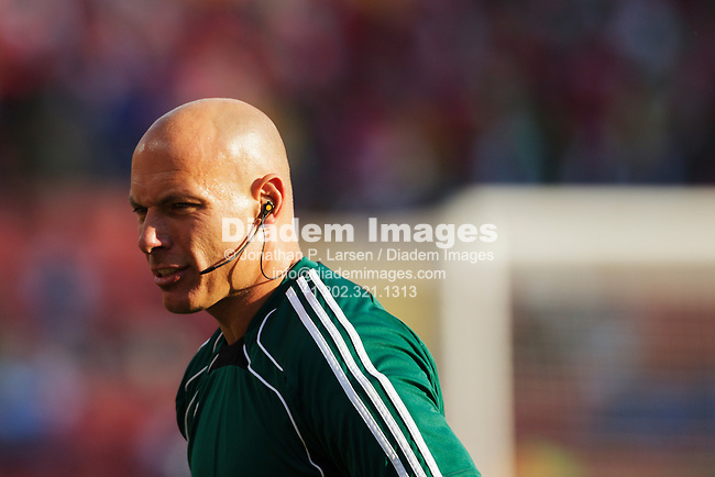 JOHANNESBURG, SOUTH AFRICA - JUNE 24:  Referee Howard Webb warms up before the FIFA World Cup Group F match between Italy and Slovakia at Ellis Park Stadium on June 24, 2010 in Johannesburg, South Africa.  Editorial use only.  Commercial use prohibited.  No push to mobile device usage.  (Photograph by Jonathan Paul Larsen)