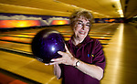 Hazel McLeary, the only Canadian in the international women's bowling hall of fame, holds her purple bowling ball at the Mayfair Lanes 10-pin bowling alley, prior to playing in a tournament in Victoria Saturday. Mayfair Lanes will close this weekend and Victoria will lose its only 10-pin bowling outlet. Photo assignment for the Globe and Mail national newspaper in Canada..