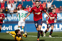 Juan Villar (forward; CA Osasuna) celebrates the goal during the Spanish football of La Liga 123, match between CA Osasuna and Cordoba CF at the Sadar stadium, in Pamplona (Navarra), Spain, on Saturday, October 13, 2018.