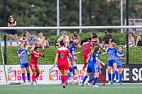 Boston, MA - Saturday July 01, 2017: Julie King clears a shot during a regular season National Women's Soccer League (NWSL) match between the Boston Breakers and the Washington Spirit at Jordan Field.