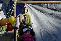 Roma 24 Settembre 2015<br /> Tor Pignattara, Piazza Bartolomeo Perestrello.<br /> La tenda per la preghiera delle donne.<br /> La Comunità islamica festeggia Eid Al-Kabir, la festa del Sacrificio, con la preghiera.