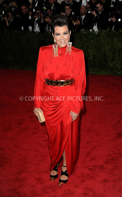 WWW.ACEPIXS.COM<br /> <br /> May 4 2015, New York City<br /> <br /> Kris Jenner arriving at the Costume Institute Benefit Gala celebrating the opening of China: Through the Looking Glass at the Metropolitan Museum of Art on May 4 2015 in New York City.<br /> <br /> <br /> Please byline: Kristin Callahan/ACE Pictures<br /> <br /> ACE Pictures, Inc.<br /> www.acepixs.com, Email: info@acepixs.com<br /> Tel: 646 769 0430