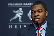 New York, NY - December 13, 2014: University of Alabama wide receiver, and Heisman Trophy finalist, Amari Cooper speaks during a news conference at the New York Marriott Marquis, December 13, 2014, before the announcement of Heisman winner. (Photo by Don Baxter/Media Images International)