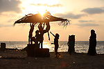 Palestinian children enjoy their time at the beach of the Mediterranean sea on the coast of Gaza city on August 9, 2017. Photo by Yasser Qudih