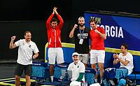 4th January 2020; RAC Arena, Perth, Western Australia; ATP Cup Australia, Perth, Day 2; Spain versus Georgia Team Georgia supports Nikoloz Basilashvili during his match against Rafael Nadal of Spain - Editorial Use