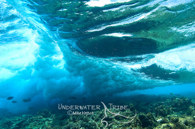 Waves breaking on a shallow reef, Yap, Federated States of Micronesia, Pacific Ocean