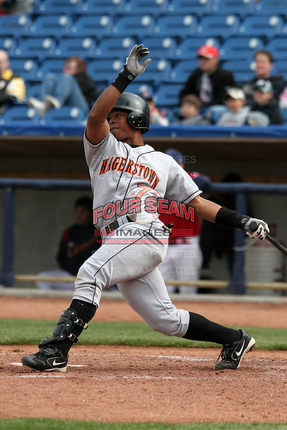 Hagerstown Suns Jonel Pacheco during a South Atlantic League game at Classic Park on April 16, 2006 in Eastlake, Ohio.  (Mike Janes/Four Seam Images)