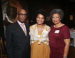 Charles Simpson, Charly Evon Simpson and Stephanie Bostic  during the Vineyard Theatre's Emerging Artists Luncheon honoring Charly Evon Simpson with the Paula Vogel Playwriting Award at the National Arts Club on November 25, 2019 in New York City.
