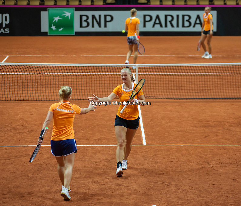 13 April, 2016, France, Trélazé, Arena Loire,   Semifinal FedCup, France-Netherlands, Dutch team practise, doubles <br /> Photo: Henk Koster/tennisimages