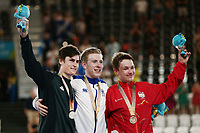 Mark Stewart of Scotland with gold, Campbell Stewart of New Zealand with silver and Ethan Hayter of England with bronze at the Men's 40km Points Race Final. Gold Coast 2018 Commonwealth Games, Track Cycling, Anna Meares Velodrome, Brisbane, Australia. 8 April 2018 © Copyright Photo: Anthony Au-Yeung / www.photosport.nz/SWpix.com