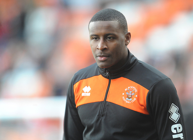 Blackpool's Donervon Daniels during the pre-match warm-up <br /> <br /> Photographer Kevin Barnes/CameraSport<br /> <br /> The EFL Sky Bet League One - Blackpool v Southend United - Saturday 9th March 2019 - Bloomfield Road - Blackpool<br /> <br /> World Copyright © 2019 CameraSport. All rights reserved. 43 Linden Ave. Countesthorpe. Leicester. England. LE8 5PG - Tel: +44 (0) 116 277 4147 - admin@camerasport.com - www.camerasport.com