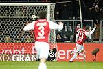 Nederland, Alkmaar, 19 januari  2013.Eredivisie.Seizoen 2012/2013.AZ-Vitesse 4-1.Roy Beerens van AZ scoort de 3-0