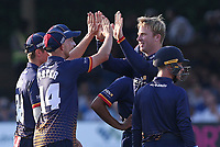 Simon Harmer of Essex celebrates with his team mates after taking the wicket of Nick Gubbins during Essex Eagles vs Middlesex, Vitality Blast T20 Cricket at The Cloudfm County Ground on 6th July 2018