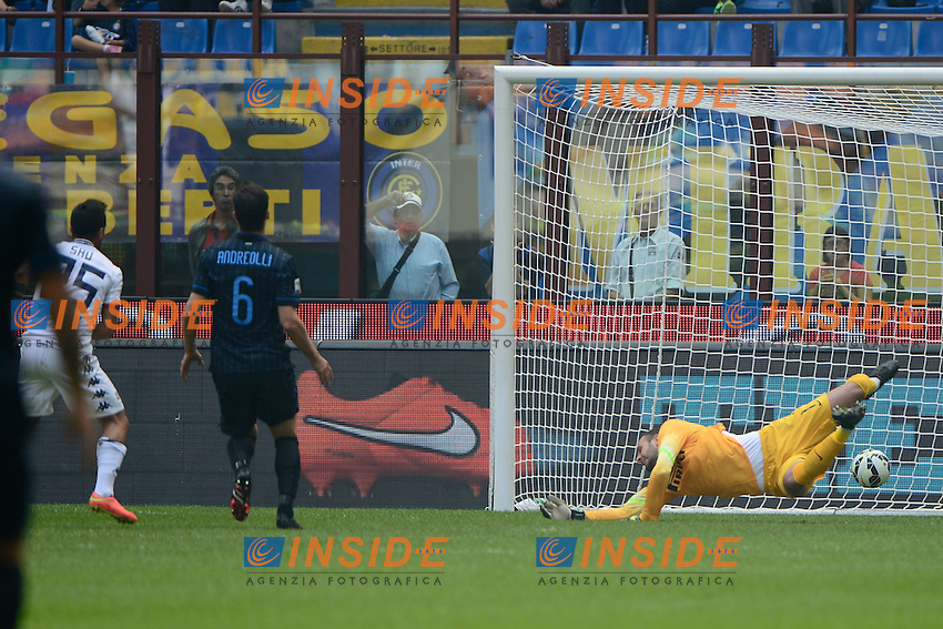 Gol di Marco Sau Cagliari 0-1. Celebration goal<br /> Milano 28-09-2014 Stadio Giuseppe Meazza - Football Calcio Serie A Inter - Cagliari. Foto Giuseppe Celeste / Insidefoto