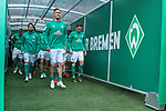 13.04.2019, Weser Stadion, Bremen, GER, 1.FBL, Werder Bremen vs SC Freiburg, <br /> <br /> DFL REGULATIONS PROHIBIT ANY USE OF PHOTOGRAPHS AS IMAGE SEQUENCES AND/OR QUASI-VIDEO.<br /> <br />  im Bild<br /> <br /> angef&uuml;hrt von Max Kruse (Werder Bremen #10)<br /> <br /> Die Mannschaft im Spielertunnel - <br /> Maximilian Eggestein (Werder Bremen #35)<br /> <br /> Milos Veljkovic (Werder Bremen #13)<br /> Nuri Sahin (Werder Bremen #17)<br /> Niklas Moisander (Werder Bremen #18)<br /> Davy Klaassen (Werder Bremen #30)<br /> Yuya Osako (Werder Bremen #08)<br /> Theodor Gebre Selassie (Werder Bremen #23)<br /> <br /> <br /> Foto &copy; nordphoto / Kokenge