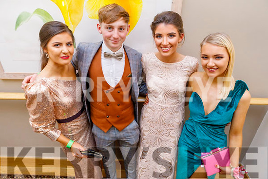Clodagh Hannon (Listowel), Tom O'Connor (Duagh), Dervla Cronin (Finuge) and Sophie Sugrue (Ballybunion)  attending the Gaelcoláiste Chiarraí Debs in the Ballyroe Heights Hotel on Thursday night.