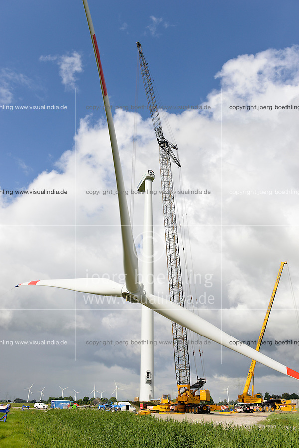 GERMANY Schleswig-Holstein Nortorf, construction of wind turbine SENVION 3.2M114, performance 3,2 Megawatt, rotor blade diametre 114 meter, Senvion (formerly REpower AG) is part of indian Suzlon Group / DEUTSCHLAND Schleswig Holstein Nortorf, Aufbau einer Windkraftanlage Senvion 3.2M 114