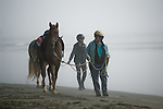 Walking with horse on the beach in Crescent City California