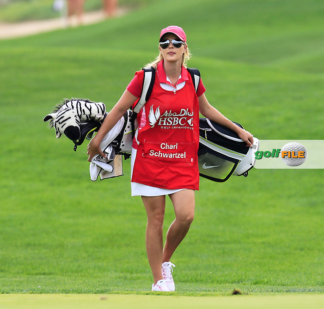 Rosalind Schwartzel (RSA) on Chral's bag on the 13th hole during Sunday's Final Round of the Abu Dhabi HSBC Golf Championship 2015 held at the Abu Dhabi Golf Course, United Arab Emirates. 18th January 2015.<br /> Picture: Eoin Clarke www.golffile.ie