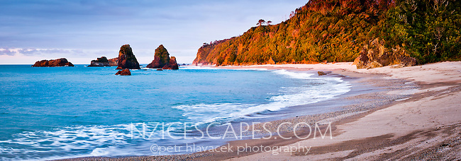 A remote, wild West Coast beach at sunset - South Westland, West Coast, New Zealand