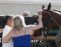 McCall Mitchell congratulating Obviously (IRE) winner of the Del Mar Mile at Del Mar Race Course in Del Mar, California on August 26, 2012.