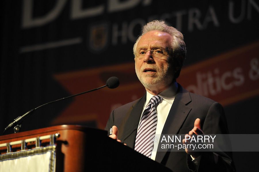 """Wolf Blitzer, anchor of CNN's The Situation Room, speaking at Hofstra University on Thursday, March 29, 2012, in Hempstead, New York, USA. During Blitzer's talk, he shared news clips, including from CNN presidential primary debates he moderated. Hofstra's """"The World Today"""" event is part of """"Debate 2012 - Pride, Politics and Policy"""" which leads up to the Presidential Debate Hofstra is hosting on October 15, 2012."""