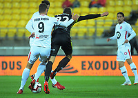 Oriol Riera fouls Andrew Durante during the A-League football match between Wellington Phoenix and Western Sydney Wanderers at Westpac Stadium in Wellington, New Zealand on Saturday, 3 November 2018. Photo: Dave Lintott / lintottphoto.co.nz