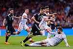 Giovani Lo Celso of Argentina (C) fights for the ball with Gerard Pique of Spain (R) during the International Friendly 2018 match between Spain and Argentina at Wanda Metropolitano Stadium on 27 March 2018 in Madrid, Spain. Photo by Diego Souto / Power Sport Images