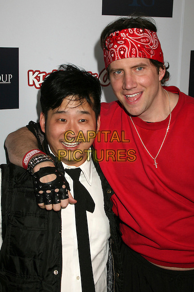 "BOBBY LEE & JAMIE KENNEDY .""Kickin' It Old Skool"" Los Angeles Premiere Party at the Music Box Theatre, Hollywood, California, USA..April 25th, 2007.half length red bandana fingerless leather black gloves fishnet arm over shoulder jacket .CAP/ADM/BP.©Byron Purvis/AdMedia/Capital Pictures"