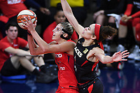 Washington, DC - Sept 17, 2019: Washington Mystics forward Elena Delle Donne (11) goes up and around Las Vegas Aces forward Dearica Hamby (5) on her way to the basket during WNBA Playoff semi final game between Las Vegas Aces and Washington Mystics at the Entertainment & Sports Arena in Washington, DC. The Mystics hold on to beat the Aces 97-95. (Photo by Phil Peters/Media Images International)