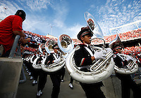 The Ohio State Marching Band rushes on to the field before the college football game between the Ohio State Buckeyes and the Cincinnati Bearcats at Ohio Stadium in Columbus, Saturday afternoon, September 27, 2014. The Ohio State Buckeyes defeated the Cincinnati Bearcats 50 - 28. (The Columbus Dispatch / Eamon Queeney)