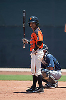 San Francisco Giants Orange shortstop Anyesber Sivira (32) at bat during an Extended Spring Training game against the Seattle Mariners at the San Francisco Giants Training Complex on May 28, 2018 in Scottsdale, Arizona. (Zachary Lucy/Four Seam Images)