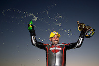 Nov 10, 2013; Pomona, CA, USA; NHRA pro stock motorcycle rider Eddie Krawiec celebrates after winning the Auto Club Finals at Auto Club Raceway at Pomona. Mandatory Credit: Mark J. Rebilas-