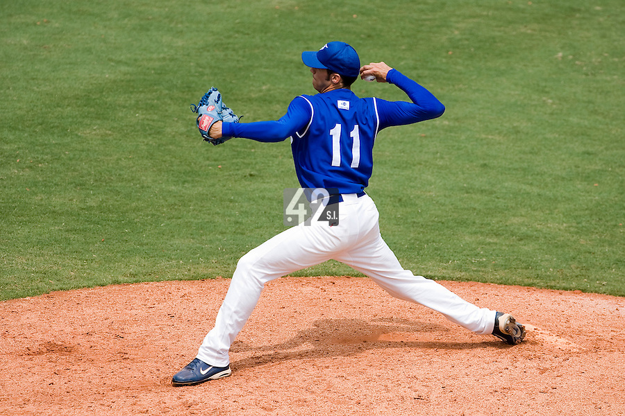 22 August 2007: Matthieu Brelle-Andrade pitches against Japan during the Japan 9-4 victory over France in the Good Luck Beijing International baseball tournament (olympic test event) at west Beijng's Wukesong Baseball Field in Beijing, China.