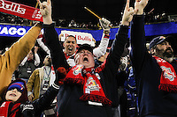 New York Red Bulls fans cheer the only goal of the game during the first half of a Major League Soccer match between the New York Red Bulls and the Chicago Fire at Red Bull Arena in Harrison, NJ, on March 27, 2010. The Red Bulls defeated the Fire 1-0.
